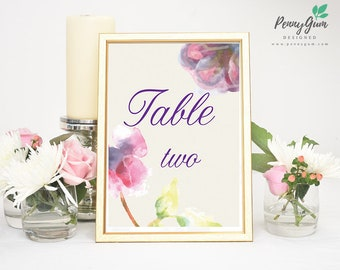 Floral Watercolor Wedding Reception Table Numbers • DIY Printable Wedding Stationery • Editable PDF Template • Instant Download, #PG0002_8