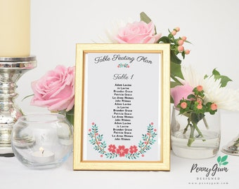 Floral Wedding Reception Table Seating Plan • DIY Printable Wedding Stationery • Editable PDF Template • Instant Download, #PG0001_7
