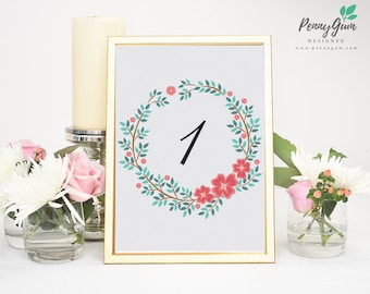 Floral Wedding Reception Table Numbers • DIY Printable Wedding Stationery • Editable PDF Template • Instant Download, #PG0001_8