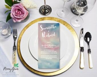 Watercolor Wedding Reception Food Menu • DIY Printable Wedding Stationery • Editable PDF Template • Instant Download, #PG0003_5