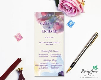 Floral Warercolor Wedding Ceremony Program and Timeline • DIY Printable Wedding Stationery • Editable Template, Instant Download, #PG0002_4