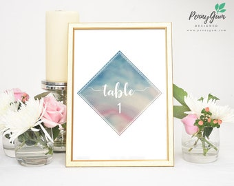 Watercolour Wedding Reception Table Numbers • DIY Printable Wedding Stationery • Editable PDF Template • Instant Download, #PG0003_8