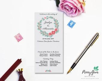 Floral Wedding Ceremony Program and Timeline • DIY Printable Wedding Stationery • Editable PDF Template • Instant Download, #PG0001_4