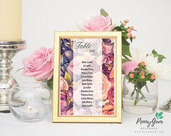 Floral Wedding Reception Table Seating Plan • DIY Printable Wedding Stationery • Editable PDF Template • Instant Download, #PG0004_7