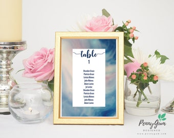 Watercolor Wedding Reception Table Seating Plan • DIY Printable Wedding Stationery • Editable PDF Template • Instant Download, #PG0003_7