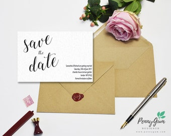 Minimalist Wedding Save the Date • Calligraphy DIY Printable Wedding Stationery •  Editable PDF Template •  Instant Download, #PG0005_2