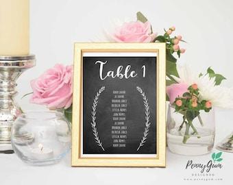 Blackboard Wedding Reception Table Seating Plan • DIY Printable Wedding Stationery • Editable PDF Template • Instant Download, #PG0006_7