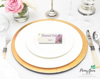 Floral Watercolour Wedding Reception Place Cards • DIY Printable Wedding Stationery • Editable PDF Template • Instant Download, #PG0002_6