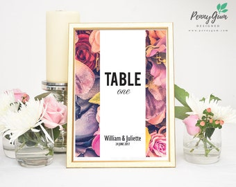 Floral Wedding Reception Table Numbers • DIY Printable Wedding Stationery • Editable PDF Template • Instant Download, #PG0004_8