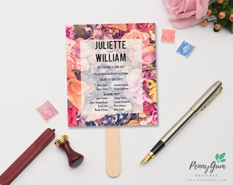 Floral Wedding Ceremony Program and Timeline • DIY Printable Wedding Stationery • Editable PDF Template • Instant Download, #PG0004_4