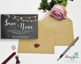 Blackboard Wedding Save the Date • Chalk Editable Template • DIY Printable Wedding Stationery • Instant Download, #PG0006_2