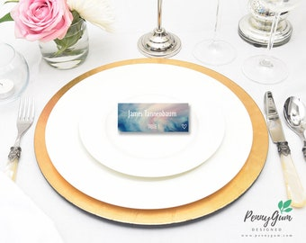 Watercolor Wedding Reception Place Cards • DIY Printable Wedding Stationery • Editable PDF Template • Instant Download, #PG0003_6