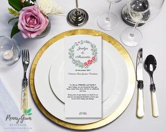 Floral Wedding Reception Food Menu • DIY Printable Wedding Stationery • Editable PDF Template • Instant Download, #PG0001_5