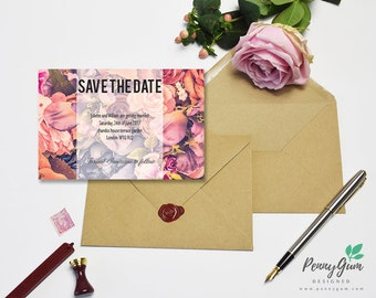 Floral Wedding Save the Date • Rose DIY Printable Wedding Stationery •Editable PDF Template • Instant Download, #PG0004_2