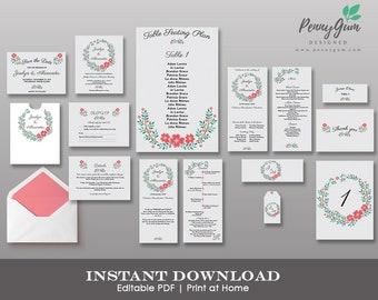 Floral Wedding Stationery Suite • Editable Template Set • DIY Printable Set, Instant Download • Bundle, #PG0001_1