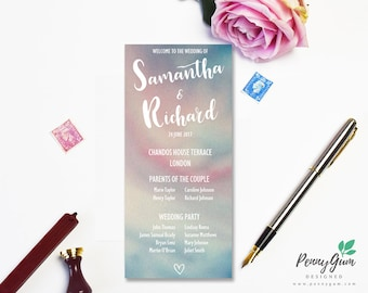 Watercolour Wedding Ceremony Program and Timeline •  DIY Printable Wedding Stationery • Editable PDF Template •  Instant Download, #PG0003_4
