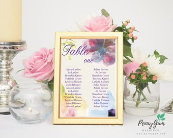Floral Watercolour Wedding Reception Table Seating Plan • DIY Printable Wedding Stationery • Editable Template • Instant Download, #PG0002_7