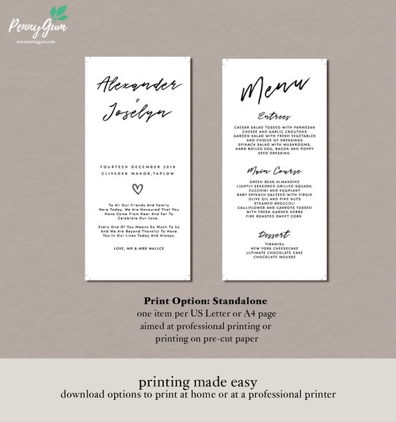 Simple Wedding Reception Food Menu Editable Template Diy Printable Wedding Stationery Instant Download Pg0011 5
