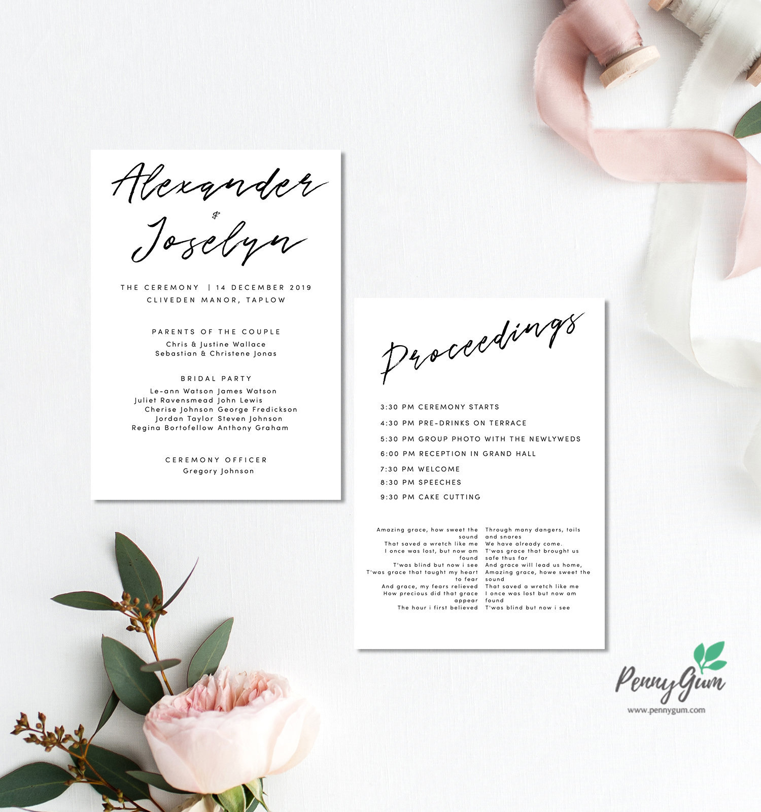 Simple Wedding Ceremony Program And Timeline Editable