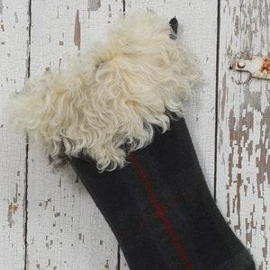 Vintage Brown Plaid Wool Blanket Retro Raccoon Fur Cuff Shabby Chic Real Fur Petite Country Christmas Stocking