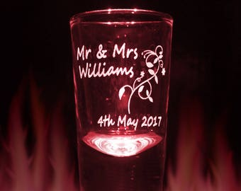 10x Engraved Shot Glasses Personalised with your own message for Weddings Stag do or Hen Party