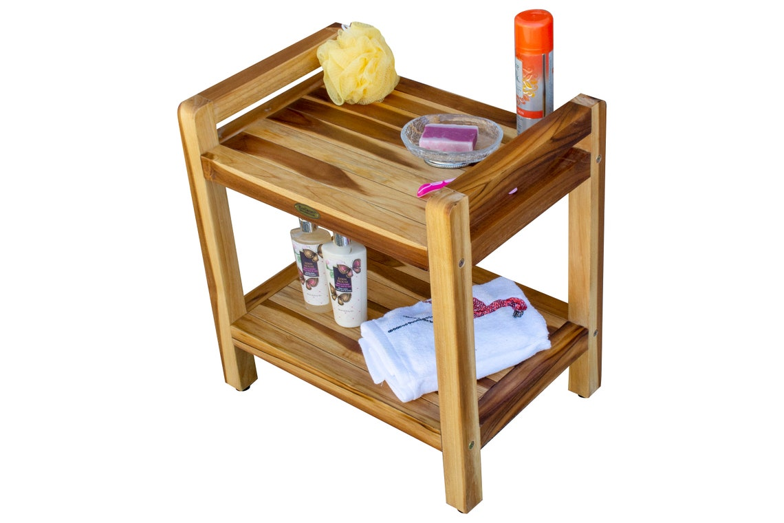"EcoDecors Eleganto 20"" Teak Wood Shower Bench with LiftAide Arms and Shelf in Natural Finish"