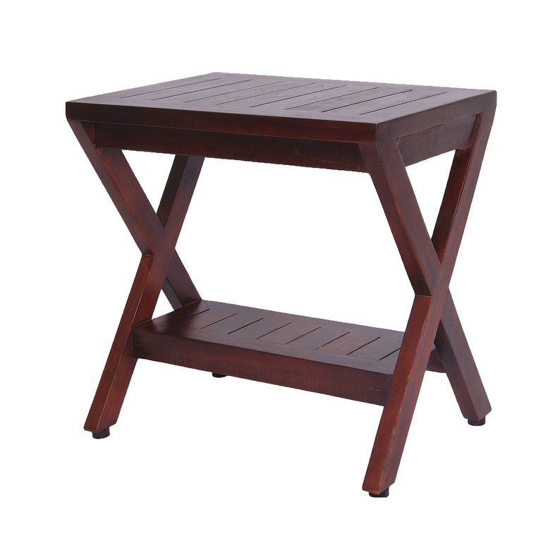Marvelous Obliquity 18 Teak Shower Bench With Shelf Fully Assembled Adjustable Height Foot Pads Modern Contemporary Design Gmtry Best Dining Table And Chair Ideas Images Gmtryco