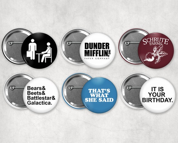 The Office Pinback Buttons by Etsy