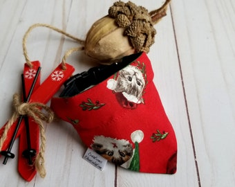 Christmas cat bandana, over the collar bandana, cat's head, red and green,  Christmas reversible bandana for cat, Christmas gift for cat