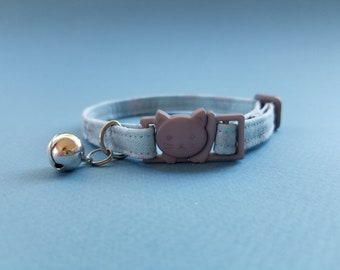Unique collar for cat, breakaway buckle, safety adjustable collar, Christmas gift, blue, snow flake, cat furniture, Christmas, gift for her