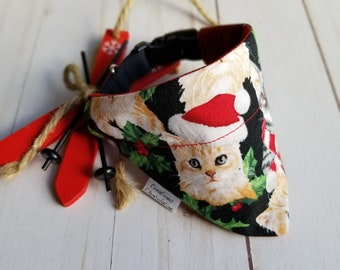 Christmas cat bandana, over the collar bandana, cats and deers, grey and red,  Christmas reversible bandana for cat, Christmas gift for cat