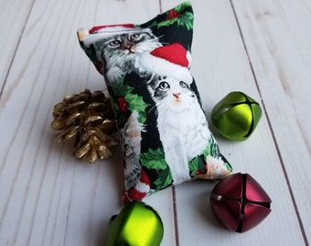 Christmas cat toy, fun cat toy, catnip cat toy, pillow bag toy, christmas stocking, cat's christmas gift, cat lover gift, unique cat toy