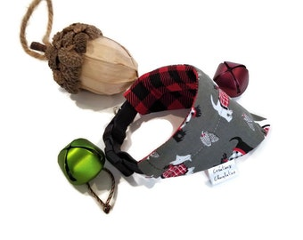 Over the collar bandana, scarf for dogs, SMALL size, reversible bandana for dogs, black and white terriers, buffalo plaid, black and red
