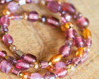 Pretty Pink Purple Orange Beaded Necklace