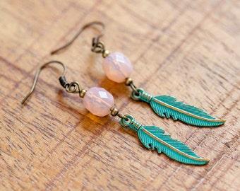 Turquoise Bohemian Feather Earrings