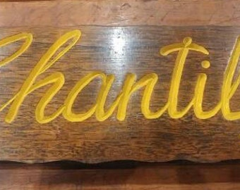 Retro 'CHANTILLY' carved wooden sign