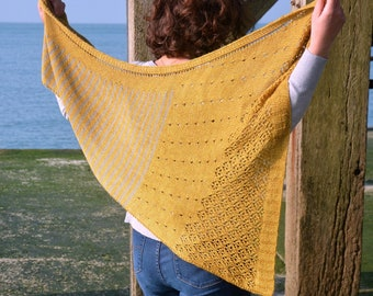 PATRON TRICOT PRINTED of the DANIO shawl, french knitting model, a shawl with stripes and lace, plug