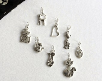 CATS lot of 8 marker rings to spot you in your knitting - Gift idea for knitter, cat, kitten, knitting accessory