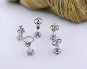 5 chess game marker rings for your knitting, marker for your knitting, accessory, knitting tool, knitting gift