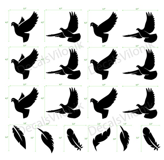 BIRDs on a BRANCH Vinyl Decal Sticker Car Window Wall Bumper Black of Feather