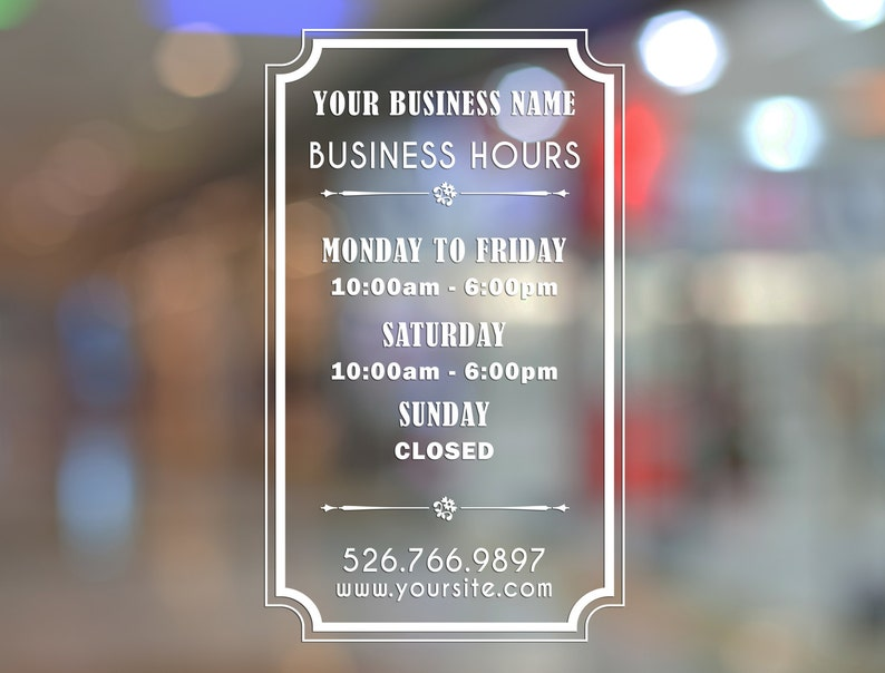 Removable Vinyl Custom Store Shop Business Working Hours Door Window Decal Custom Size and Colour Lettering BUSINESS WORK HOURS