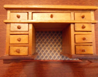 1:12 Scale Artisan Dollhouse Miniature Wooden Desk Hand Crafted and Polished