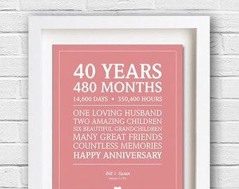 40th Anniversary Gift, Personalized Anniversary, Custom Anniversary Present, Gift for Wife, Gift for Her, Digital Print