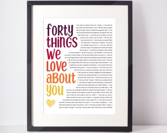 159i Forty Reasons Why We Love You Framed Print 40 Reasons To Celebrate You Personalised 40th Birthday Gift Best Friend Present Wife Forty