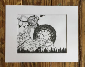 Indie black and white art print/sun and moon/pen and ink/Wall art/ Wall Decor/Gift/Presents/Christmas/Indie