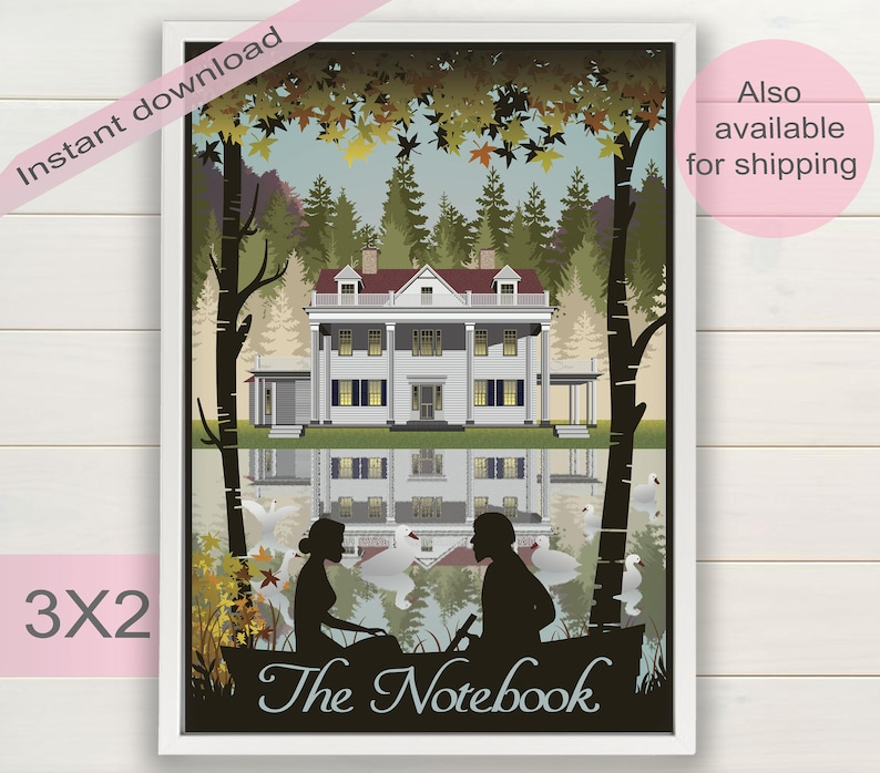 The Notebook book & movie poster | Nicholas Sparks gifts | Vintage  printable wall art | Valentines print decor | Instant digital download