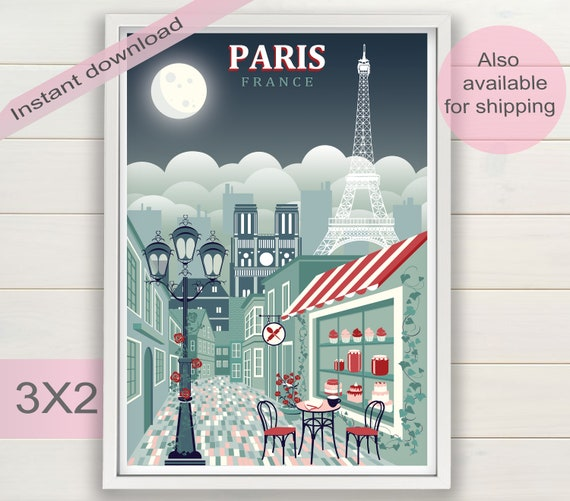 Paris Print Download France Bedroom Decor Theme Party Art Eiffel Tower Silhouette Vintage Travel Poster Kitchen Instant Download