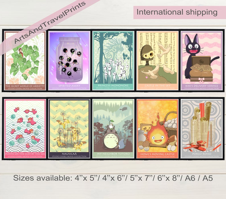 HAYAO MIYAZAKI A4 POSTERS Valentines Day Gift Great Anime Films Wall Art Prints