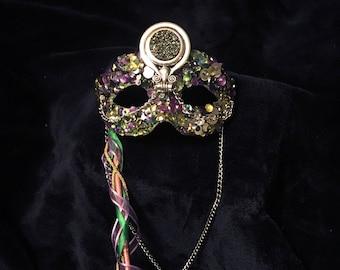 Masquerade Mask - Mardi Gras Mask - Chakra Mask - Hand Made - Purple, Gold, and Green - Bubbles family - Prop Stick
