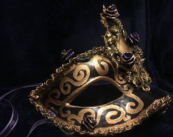 Masquerade Mask - Mardi Gras Mask - Gold - Purple - Hand Made - Rose - Thorn